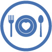 icon of illustrated place setting representing fundraising meal