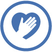 volunteer icon of illustrated hand over heart