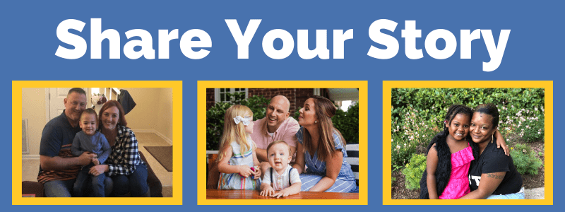 share your story with three different family pictures